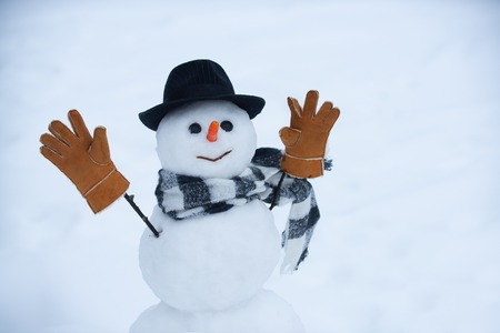 Winter background with snowflakes and snowman. Snowman is standing in winter hat and scarf with red nose.