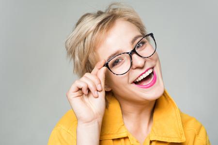 Eyewear fashion. Add smart accessory. Stylish girl with eyeglasses. Eyesight and eye health. Good vision. Optics store. Fashionable eyeglasses. Woman smiling blonde wear eyeglasses close up