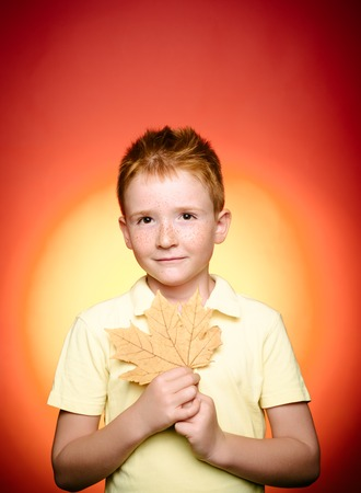 The biggest discounts for all autumn clothes for children. Cute boy are preparing for autumn sunny day. Autumn concept. Boy in seasonal clothes with golden leaf. Close-up portrait.