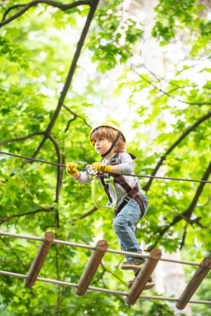 Cute baby boy playing. Kid climbing trees in park. Hike and kids concept. Beautiful little child climbing and having fun in adventure Park. Eco Resort Activities.