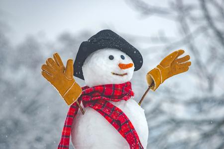 Happy funny snowman in the snow. Snow man in winter hat. Snowman outdoor. Funny snowmen. Cute snowman in hat and scarf on snowy field Standard-Bild