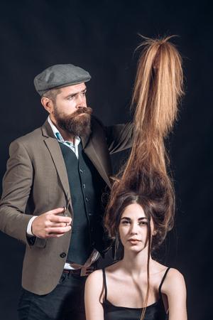 Long hair. Fashion haircut. Hairdresser, beauty salon. Beauty Model girl with Healthy Hair.