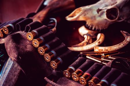 Cartridges shotgun or shotgun barrel. American hunting rifles. Hunting equipment. Deer hunt.