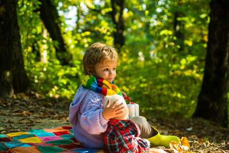 Happy kids autumn. Cute boy with Autumn Leaves on Fall Nature Background. Freedom Concept.