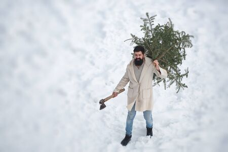 Santa Claus with axe in the winter. Bearded man with freshly cut down Christmas tree in forest. Winter time scene. Hipster Santa Claus. Christmas and winter.