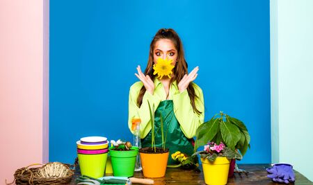 Studio shot of flower planting. Florist Small Business. Woman shocked by her plant. Imagens - 124924809