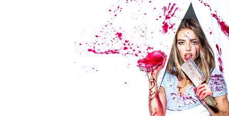 Steak or beefsteak - bloody meat. Sexy woman covered in blood holding knife. Revenge of the lover. Toxics relationship concept. Stock Photo - 124924847