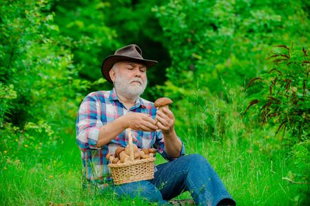 Happy Grandfather - summer and hobbies. Grandfather with basket of mushrooms and a surprised facial expression. Old man walking. Grandpa Pensioner. Senior hiking in forest.