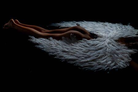 Notion de Saint Valentin. Photo d'art d'une belle femme angélique. Concept de mode pour femmes érotiques.