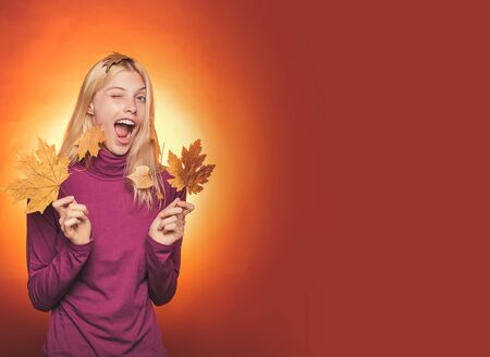 Happy young woman are preparing for autumn sunny day. Girl wearing in autumn clothes on autumn sunny day. Attractive young woman wearing in fashionable seasonal clothes having Autumnal mood.