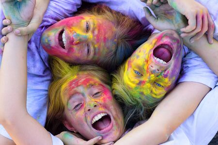 having fun together. Crazy hipster girls. Summer weather. colorful neon paint makeup. children with creative body art. Happy youth party. Optimist. Spring vibes. positive and cheerful. funny girls