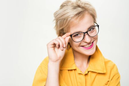 Woman smiling blonde wear eyeglasses close up. Eyewear fashion. Add smart accessory. Stylish girl with eyeglasses. Eyesight and eye health. Good vision. Optics store. Fashionable eyeglasses Фото со стока
