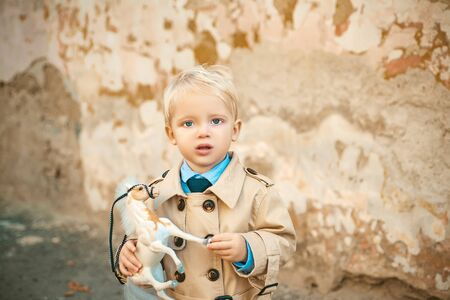 prince on white horse. small boy prince. small kid with toy horse. happy childhood. childrens day. little boy in vintage coat. Fashion look. retro style. Playing toys. Do you like it. toy in kid hand