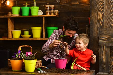 bearded man and little boy child love nature. happy gardeners with spring flowers. Father and son. Family day. Greenhouse. Flower care watering. Soil fertilizers. Look at it Stock Photo