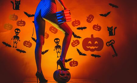Autumn time for Fashion sale. Sexy Horror background. Womens clothing store celebrates Halloween. Pumpkin with sexy ass. Happy Halloween Sexy Witchs with Big sexy ass.