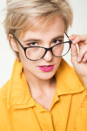 Eyewear fashion. Add smart accessory. Stylish girl with eyeglasses. Eyesight and eye health. Good vision. High quality lens. Fashionable eyeglasses. Woman adorable blonde wear eyeglasses close up
