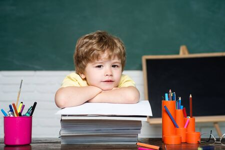 Back to school. Cute industrious child is sitting at a desk with books indoors - school concept. Stock Photo