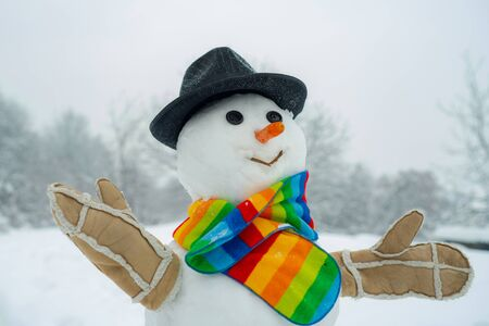 Snowman isolated on snow background. Greeting snowman. Happy snowman standing in winter Christmas landscape. Happy smiling snow man on sunny winter day Foto de archivo - 127791753