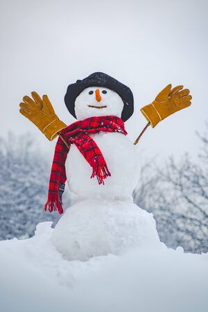 Snow man in winter hat. Christmas background with snowman. Funny snowman in stylish hat and scarf on snowy field. Happy smiling snow man on sunny winter day