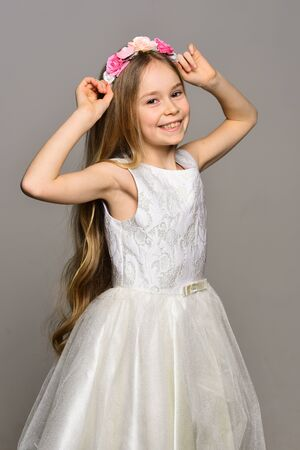 style. fashion style of happy girl. style and beauty fashion. hair style of pretty small kid. like a star.