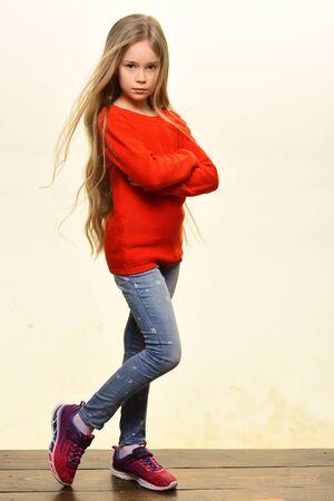 denim. cute little girl in denim style. denim fashion for kids. denim clothes fashion. Stock fotó