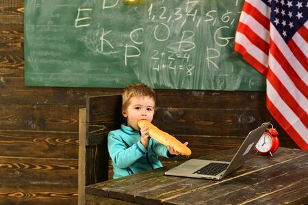 child with laptop and bread at american flag on independence day of usa.