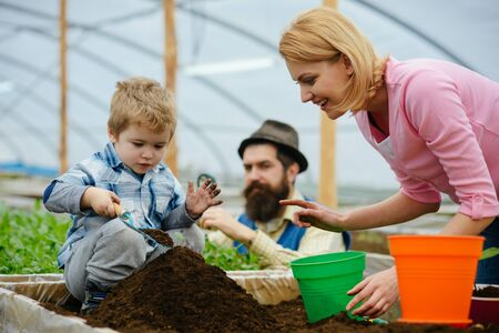 csr with people. csr concept. family in greenhouse do csr activity. people planting together. csr activity with people.