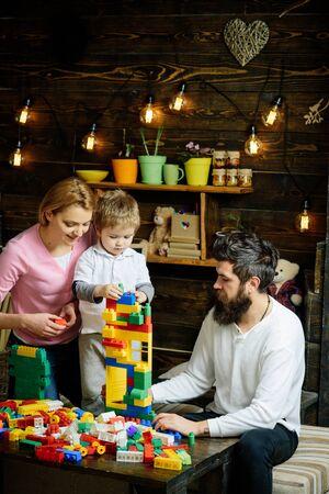 Preschool concept. Preschool child play with toy bricks. Preschool training group. Preschool education