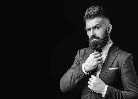 Bow tie. Bearded man in dark grey suit. Man in classic suit, shirt and tie. Rich man model. Luxury classic suits, vogue. Stock Photo