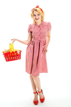 Open. happy retro woman go shopping. I have done it. Easy choice. vintage woman shopaholic holding shopping cart full of products. friendly retro shop assistant with profitable good offer