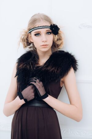 Fashion portrait of woman. Vintage girl with fashionable hair. Retro woman maintaining fashion blog. Beauty and fashion look of vogue model. Retro woman with fashion makeup. She got great style