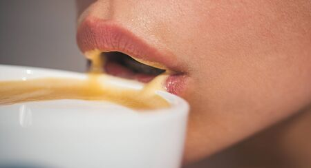 perfect morning with best coffee. woman drink coffee from cup. girl relax in cafe and drink. americano or espresso latte of girl. Enjoying morning coffee. Starting day with good news