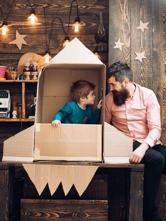 father day. fathers day concept with happy family at paper rocket.