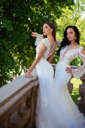 Elegant wedding salon is waiting for bride. Beautiful wedding dresses in boutique. Happy bride before wedding. Wonderful bridal gown. women is preparing for wedding. Saying yes. Bride to be Stock Photo