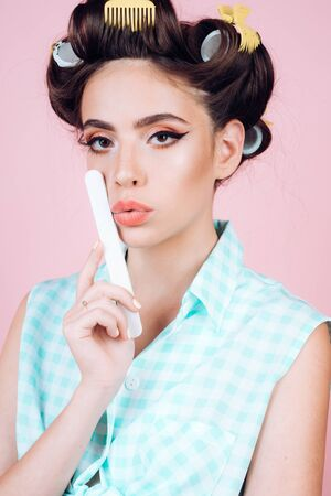 retro woman with fashion makeup and hair. vintage housewife woman make manicure. happy girl grooming in morning. beauty salon and hairdresser. Pin up girl. Feeling flirty. Gorgeous and beautiful