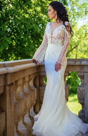 Elegant wedding salon is waiting for bride. woman is preparing for wedding. Beautiful wedding dresses in boutique. Happy bride before wedding. Wonderful bridal gown. Saying yes. Future life