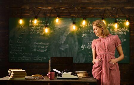 retro woman study in university. retro woman teacher work at school. woman in retro classroom