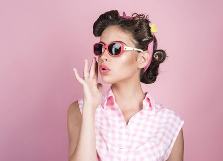 retro woman with fashion makeup. vintage housewife woman make hairstyle. happy girl in summer glasses. beauty salon and hairdresser. Pin up girl. Following her personal style. Pure beauty