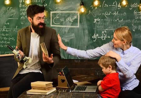 Education and literacy concept - high school teachers give lectures in the classroom, Private tutors often have vast teaching experience, Teacher is skilled leader,