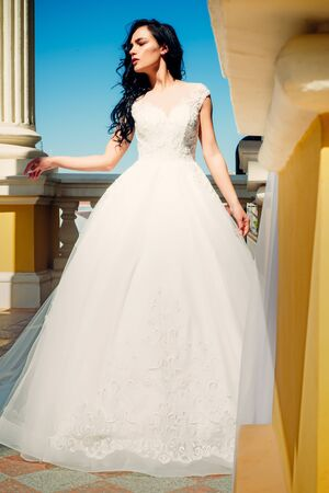 Elegant wedding salon is waiting for bride. Beautiful wedding dresses in boutique. Happy bride before wedding. Wonderful bridal gown. woman is preparing for wedding. Dreams come true. Happy moment