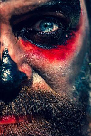 Halloween monster - close up portrait. Horror with scary Halloween man. Halloween man with blood make-up. Celebrate Halloween in America. Stockfoto