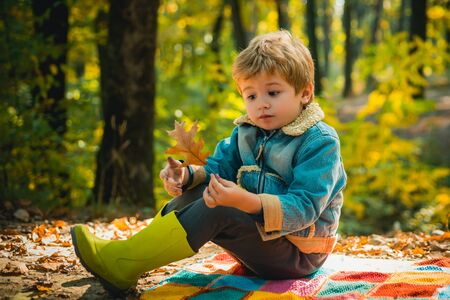 Fallen leaf. Boy in rubber boots relaxing in forest. Cute tourist concept. Kid sit on plaid forest picnic. Child relax in autumn forest. Forest school is outdoor education. Visit natural spaces Standard-Bild - 129258188