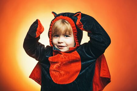 Halloween kids party and funny little evil. Halloween decoration and scary concept. Happy Halloween Weekends. Best ideas for Halloween.