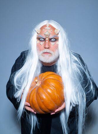 Happy Halloween. Devil vampire man. Halloween demon. Halloween holiday celebration - Man demon on black background. Фото со стока - 129322068