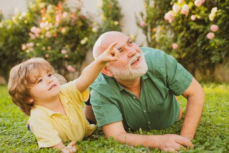 Happy father and son on meadow in summer. Cute child boy hugging his grandfather. Grandfather with Son and Grandson having Fun in Park. Healthcare family lifestyle. Stock Photo