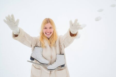 Beautiful pretty young woman in winter. Love winter. Winter landscape background. Happy fun woman. Beautiful winter woman laughing outdoors.