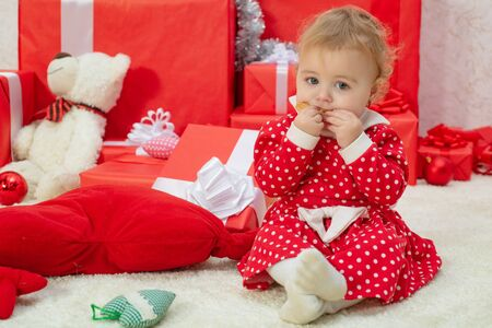 Wish to meet santa claus. Happy childhood. Merry christmas and happy new year. Child toddler relax at home on christmas eve. My first christmas magic. Believe in christmas miracle. Winter holidays 版權商用圖片
