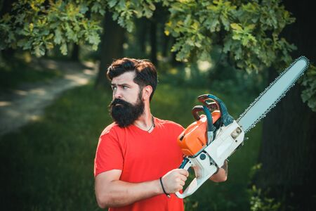 Handsome young man with axe near forest. Stylish young man posing like lumberjack. A handsome young man with a beard carries a tree. Stock Photo