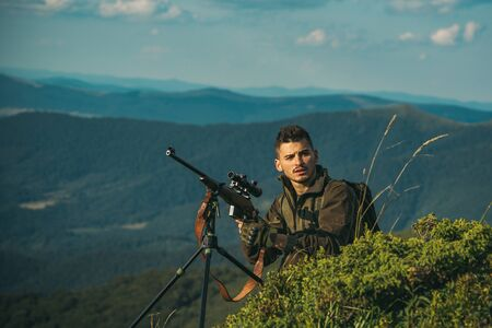 Hunting Gear - Hunting Supplies and Equipment. Hunting in America. Process of duck hunting. Illegal Poacher in the Forest.