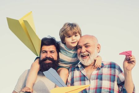 Generation. Father and son with grandfather - happy loving family. Stockfoto